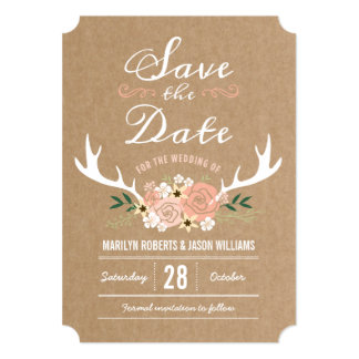 Floral Antlers Save the Date Card