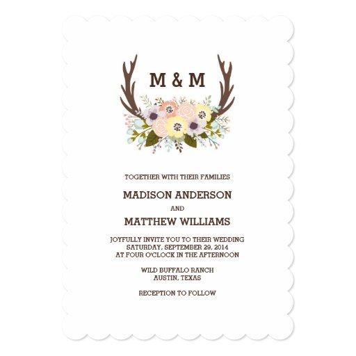 Floral Antlers   Wedding Invitation