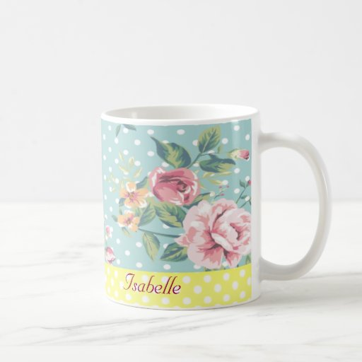 Floral apacible del vintage elegante taza de café