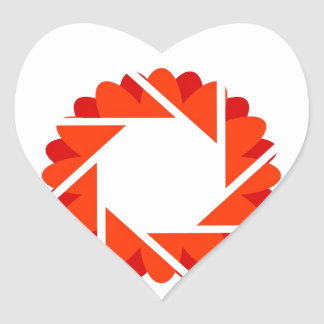 Floral aperture heart sticker