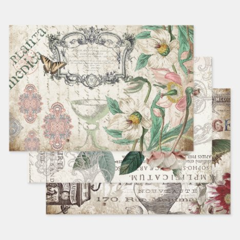 FLORAL APOTHECARY HEAVY WEIGHT DECOUPAGE WRAPPING PAPER SHEETS