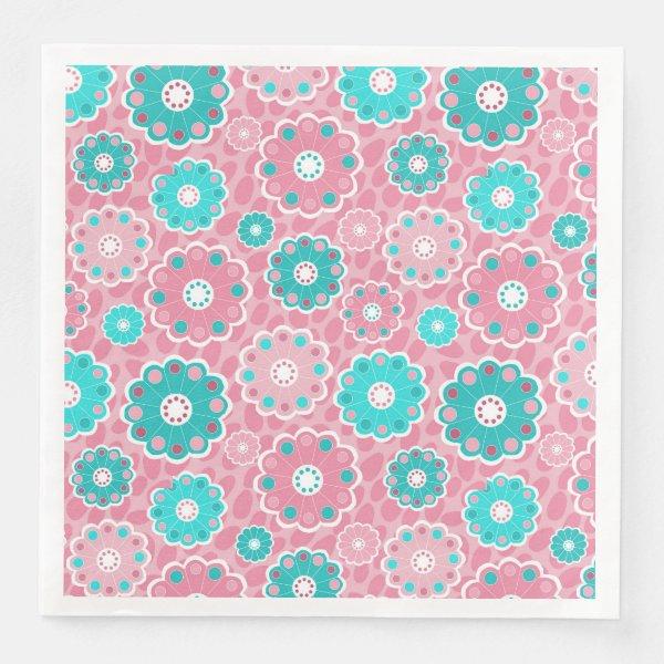 Floral aqua and pink modern paper dinner napkin