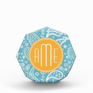 Floral Aqua Blue Paisley Pattern & Yellow Monogram Acrylic Award