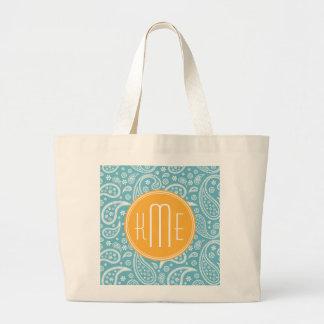 Floral Aqua Blue Paisley Pattern & Yellow Monogram Canvas Bags