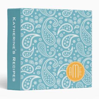 Floral Aqua Blue Paisley Pattern & Yellow Monogram Vinyl Binders