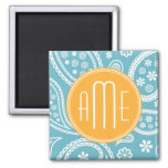 Floral Aqua Blue Paisley Pattern & Yellow Monogram 2 Inch Square Magnet