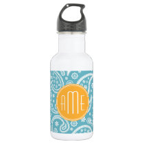 Floral Aqua Blue Paisley Pattern & Yellow Monogram Stainless Steel Water Bottle