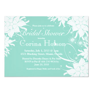 "Floral Aqua Bridal Shower Invitation 4.5"" X 6.25"" Invitation Card"