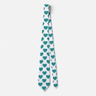 Floral Aqua Hearts Shapes of Roses Tie
