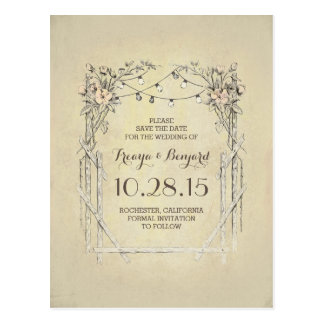 Floral arch vintage rustic save the date postcard