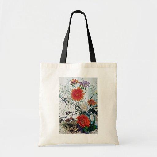 Floral arrangement in glass vase  flowers budget tote bag