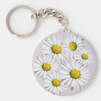 Floral Arrangement of White and Yellow Daisies Keychain