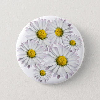Floral arrangement of white and yellow daisies pinback button
