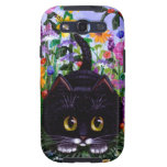 Floral Art Black Tuxedo Cat Flowers Creationarts Samsung Galaxy S3 Cases