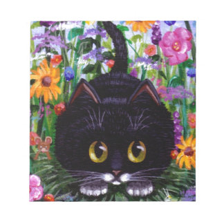 Floral Art Black Tuxedo Cat Flowers Creationarts Notepad