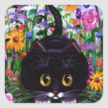 Floral Art Black Tuxedo Cat Flowers Creationarts Square Stickers