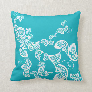 Floral Art Deco Peacock Paisley Chic Turquoise Pillow