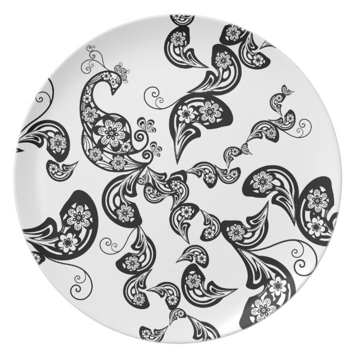 Floral Art Deco Peacock Pattern Black Plate