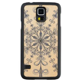 Floral Art Nouveau Cornflower Blue Design Carved Maple Galaxy S5 Slim Case