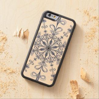 Floral Art Nouveau Cornflower Blue Design Carved Maple iPhone 6 Bumper Case