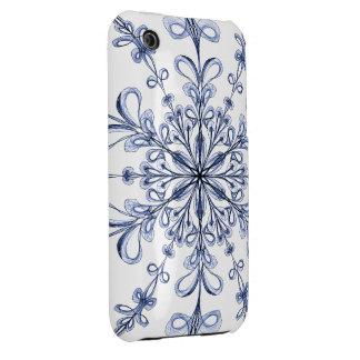 Floral Art Nouveau Cornflower Blue Design on White iPhone 3 Case-Mate Case