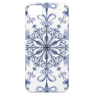 Floral Art Nouveau Cornflower Blue Design on White iPhone SE/5/5s Case