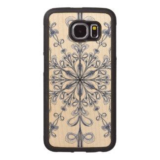 Floral Art Nouveau Cornflower Blue Design Wood Phone Case