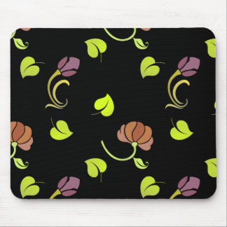 Floral Art on Black Mouse Pad