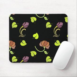 Floral Art on Black Mousepads