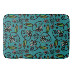 Floral Art On Teal Bath Mat at Zazzle