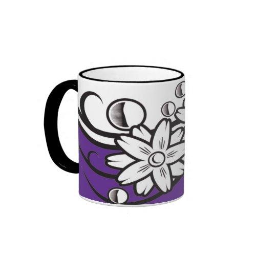 Floral art on violet base mug