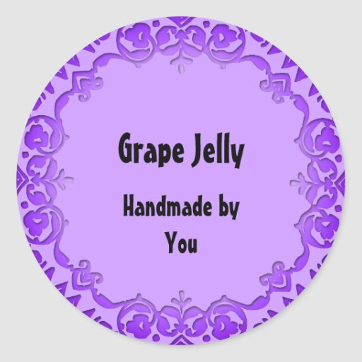 Floral Art Soap or Canning Labels Purple Classic Round Sticker