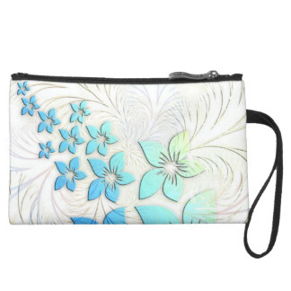 Floral Art Suede Wristlet Wallet