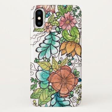 Floral art watercolour design iPhone XS case