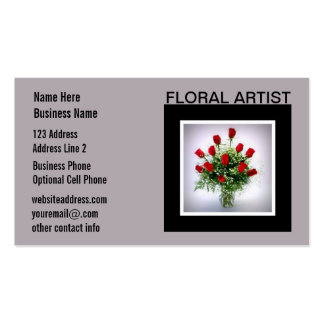 Floral Artist Florist Roses Bouquet Gray Double-Sided Standard Business Cards (Pack Of 100)