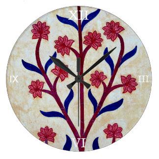 Floral Artwork at Amber Fort (2) Large Clock