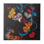 Floral artwork ceramic tile