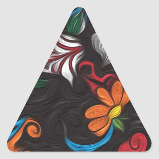 Floral artwork triangle sticker