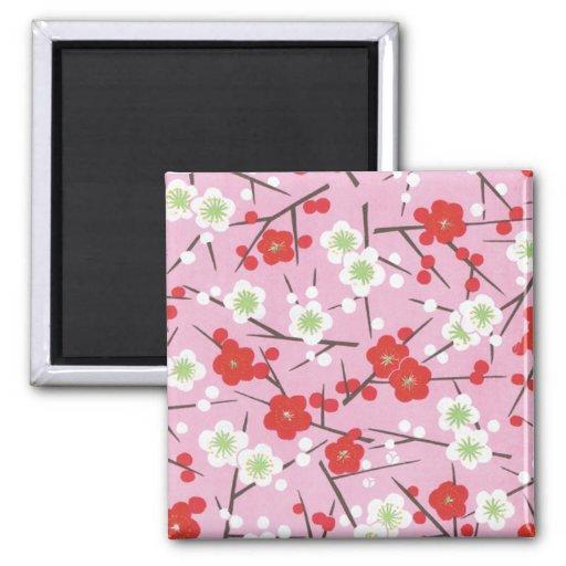 Floral asiático rosado imán para frigorifico
