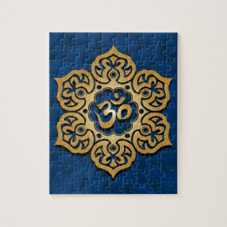 Floral Aum Design, golden blue Jigsaw Puzzle