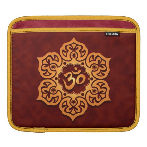Floral Aum Design, golden red Sleeve For iPads