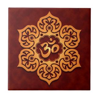 Floral Aum Design, golden red Tile