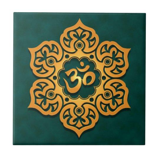 Floral Aum Design, golden teal Ceramic Tile
