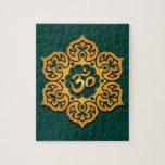 Floral Aum Design, golden teal Puzzle