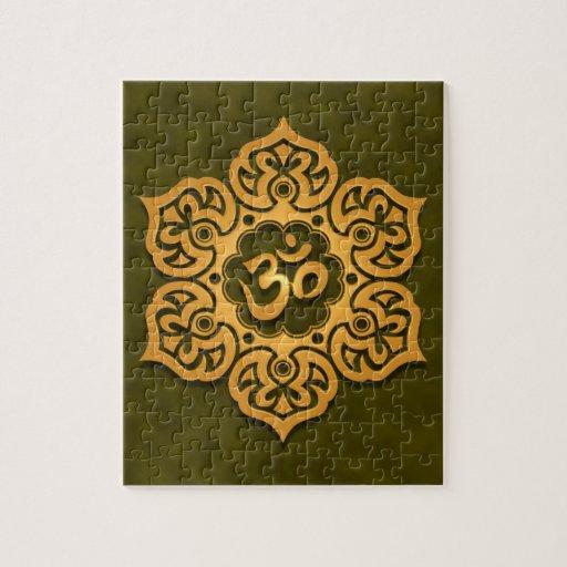 Floral Aum Design, green Puzzles