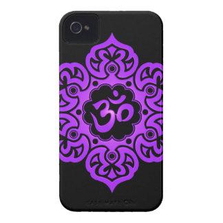 Floral Aum Design – purple and black iPhone 4 Cases