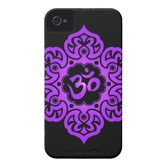 Floral Aum Design – purple and black iPhone 4 Cover