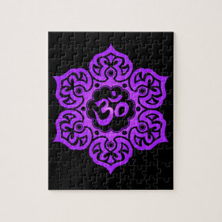 Floral Aum Design, purple and black Jigsaw Puzzle