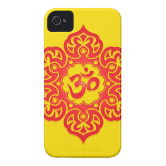 Floral Aum Design - Red and Yellow Case-Mate iPhone 4 Cases