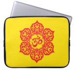 Floral Aum Design, red and yellow Computer Sleeve